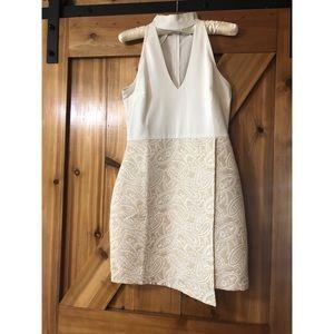ASOS white and beige halter dress